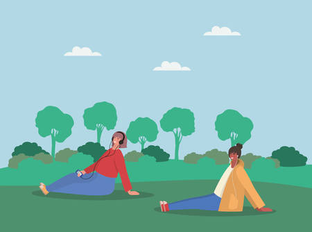 Girls with smartphones at park design, Youth culture people cool person human profile and user theme Vector illustration 向量圖像