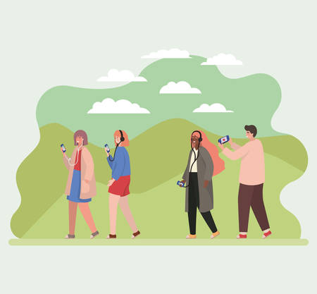 Girls and boy with smartphones at park design, Youth culture people cool person human profile and user theme Vector illustration