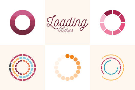 5 loading circles flat style icon set design, Progress upload interface download website internet digital and downloading theme Vector illustration 向量圖像
