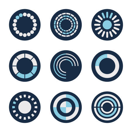 loading circles block style icon set design, Progress upload interface download website internet digital and downloading theme Vector illustration
