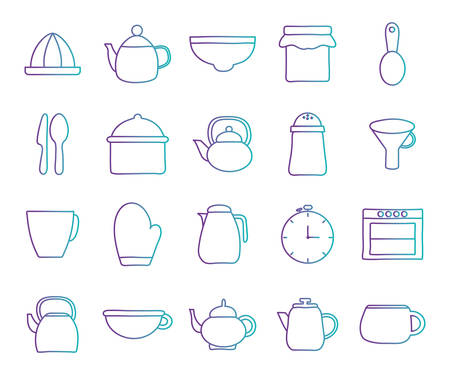 gradient style icon set design, Cook kitchen decorative elements eat food restaurant home menu dinner lunch cooking and meal theme Vector illustration Ilustração