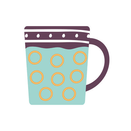 Tea or coffee mug flat style icon design, Cook kitchen Eat food restaurant home menu dinner lunch cooking and meal theme Vector illustration