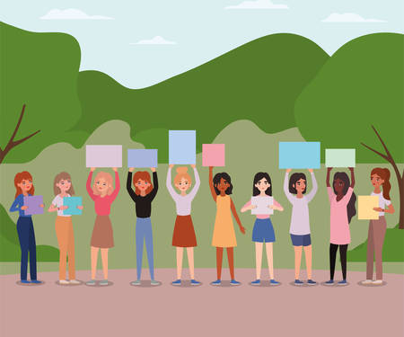 Women with banners at park design of empowerment female power feminist people gender feminism young rights protest and strong theme Vector illustration
