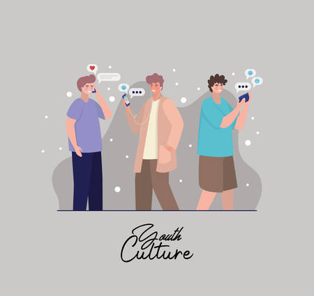 Boys with smartphones and bubbles design, Youth culture people cool person human profile and user theme Vector illustration