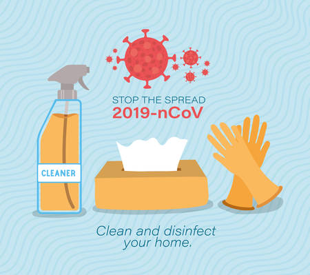 Cleaner spray tissues box and gloves for stop the spread 2019 ncov virus design of Covid 19 epidemic disease symptoms and medical theme Vector illustration