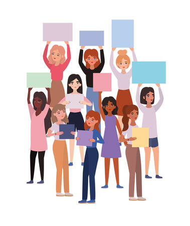 Women with banners design of empowerment female power feminist people gender feminism young rights protest and strong theme Vector illustration