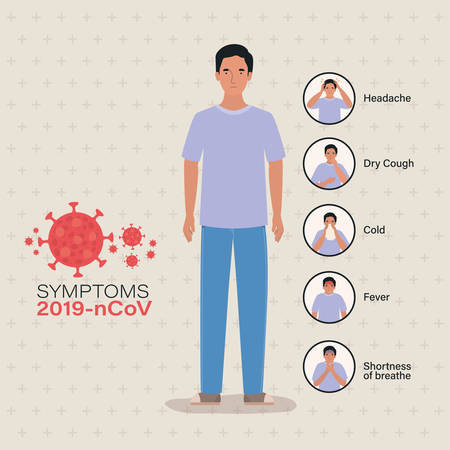 Avatar man with 2019 ncov virus symptoms design of Covid 19 cov coronavirus infection corona epidemic disease symptoms and medical theme Vector illustration