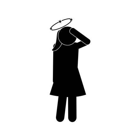 female avatar with dizziness symbol silhouette style icon design of Medical care hygiene health emergency aid exam clinic and patient theme Vector illustration Фото со стока - 143237904