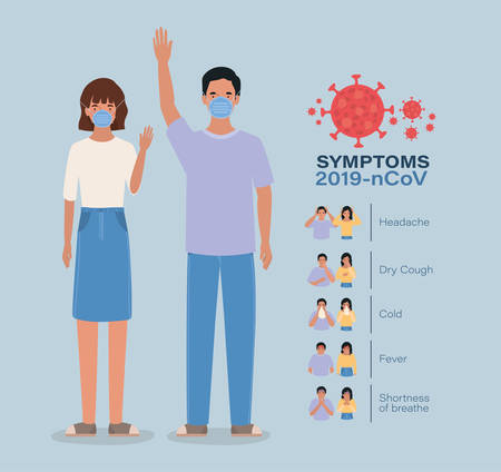 Avatar woman and man with 2019 ncov virus symptoms design of Covid 19 cov coronavirus infection corona epidemic disease symptoms and medical theme Vector illustration