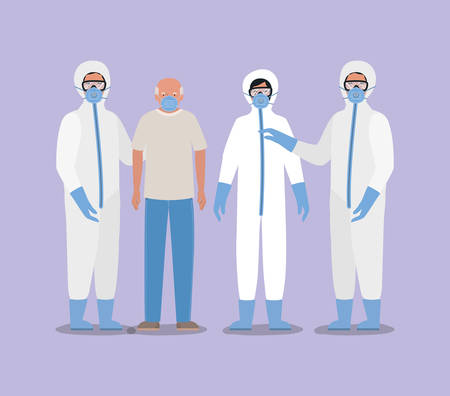 Elder man with mask and doctors with protective suits against Covid 19 design of Medical care hygiene health emergency and patient theme Vector illustration