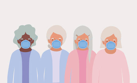Elders women with masks design of Medical care hygiene health emergency aid exam clinic and patient theme Vector illustration
