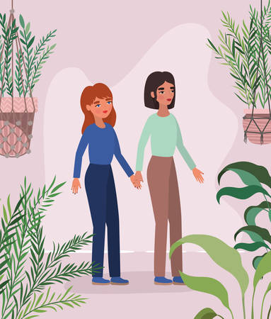 Women holding hands leaves and plants design of empowerment female power feminist people gender feminism young rights protest and strong theme Vector illustration
