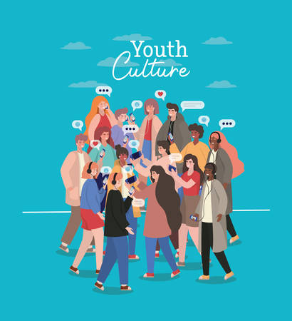 Boys and girls with smartphones headphones and bubbles design, Youth culture people cool person human profile and user theme Vector illustration