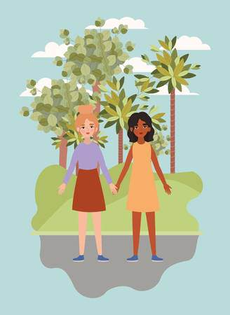 Women holding hands trees and clouds design of empowerment female power feminist people gender feminism young rights protest and strong theme Vector illustration Ilustração