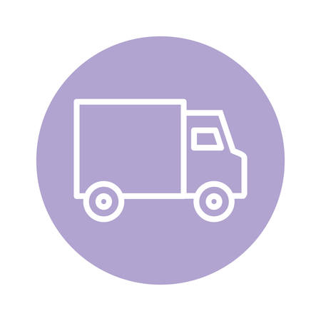 truck line and block style icon design, Delivery logistics transportation shipping service warehouse industry and global theme Vector illustration