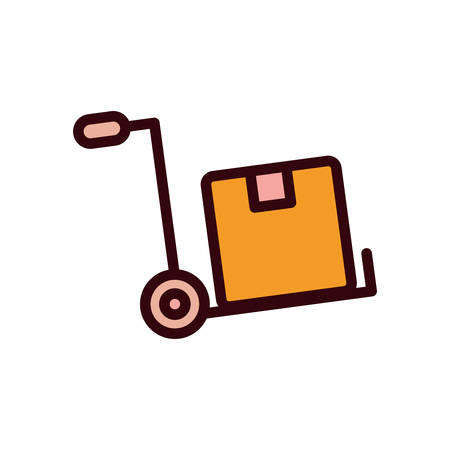 Box over cart line and fill style icon design, Delivery logistics transportation shipping service warehouse industry and global theme Vector illustration