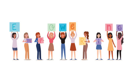 Women avatars holding empowering text banners design of empowerment female power feminist people gender feminism young rights protest and strong theme Vector illustration
