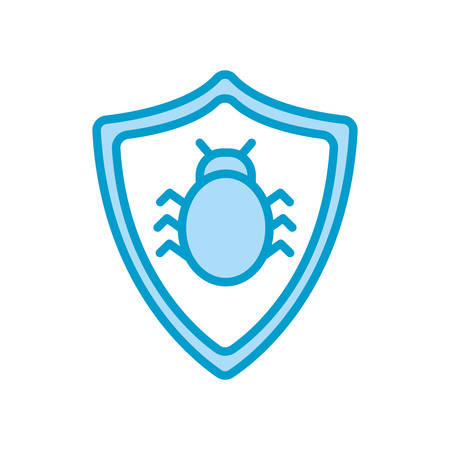 bug inside shield line and fill style icon design of Security system warning protection danger web alert and safe theme Vector illustration
