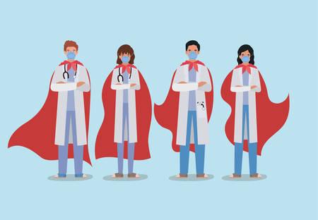 Frauen- und Männerärzte Helden mit Umhang gegen 2019 ncov-Virus Design von Covid 19 Cov-Infektionskrankheitssymptomen und medizinischem Thema Vector Illustration