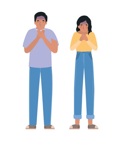 Avatar man and woman feeling sick dizzy and with nauseous design of Medical care hygiene health emergency aid exam clinic and patient theme Vector illustration