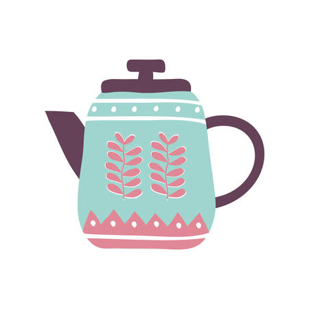 Tea or coffee kettle flat style icon design, Cook kitchen Eat food restaurant home menu dinner lunch cooking and meal theme Vector illustration