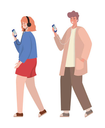 Boy and girl with smartphones design, Youth culture people cool person human profile and user theme Vector illustration 向量圖像