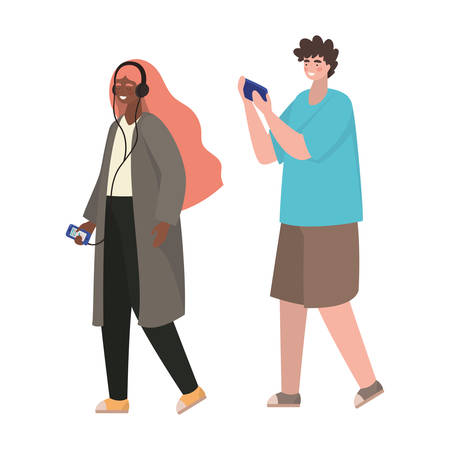 Girl and boy with smartphones design, Youth culture people cool person human profile and user theme Vector illustration