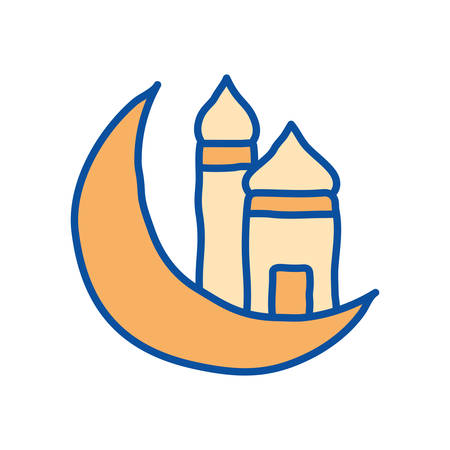 Ramadan moon and mosque line and fill style icon design, Islamic muslim religion culture belief religious faith god spiritual meditation and traditional theme Vector illustration