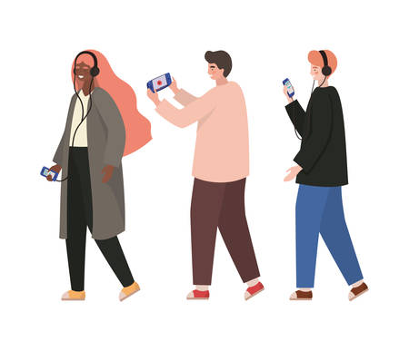 Boys and girl with smartphones design, Youth culture people cool person human profile and user theme Vector illustration