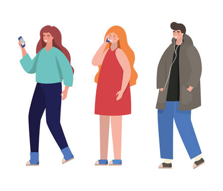 Boy and girls with smartphones design, Youth culture people cool person human profile and user theme Vector illustration