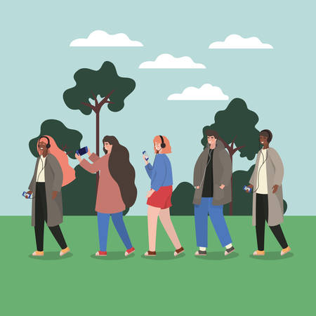 Girls and boys with smartphones at park design, Youth culture people cool person human profile and user theme Vector illustration
