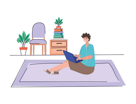 Boy with laptop at home design, Youth culture people cool person human profile and user theme Vector illustration 向量圖像