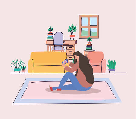 Girl with smartphone at home design, Youth culture people cool person human profile and user theme Vector illustration