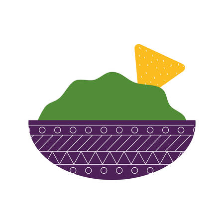 Mexican guacamole bowl flat style icon design, Mexico culture tourism landmark latin and party theme Vector illustration