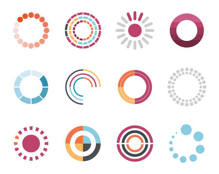 loading circles flat style icon set design, Progress upload interface download website internet digital and downloading theme Vector illustration