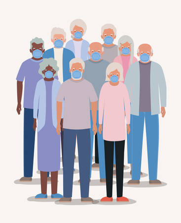 Elders men and women with masks design of Medical care hygiene health emergency aid exam clinic and patient theme Vector illustration