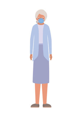Elder woman with mask against Covid 19 design of Medical care hygiene health emergency and patient theme Vector illustration