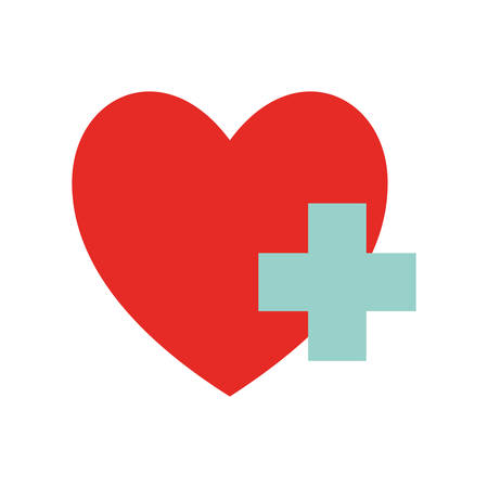 Heart with add as donation symbol flat style icon design of Humanity help cooperation together unity support covid 19 2019 theme Vector illustration