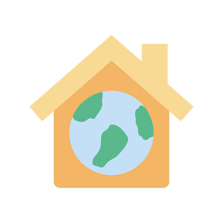 World inside house flat style icon design of Humanity help cooperation together unity support covid 19 2019 community and union theme Vector illustration