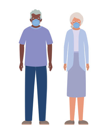 Elder woman and man with masks against Covid 19 design of Medical care hygiene health emergency and patient theme Vector illustration