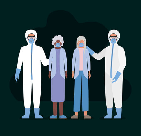 Elder women with masks and doctors with protective suits against Covid 19 design of Medical care hygiene health emergency and patient theme Vector illustration