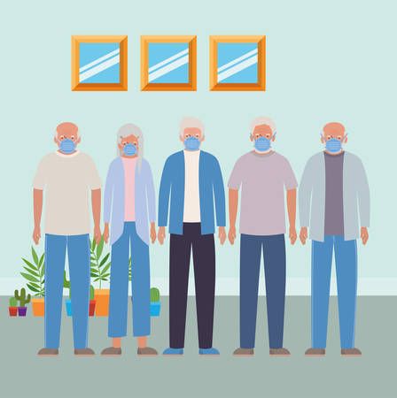 Elder woman and men with masks inside room against Covid 19 design of Medical care hygiene health emergency and patient theme Vector illustration