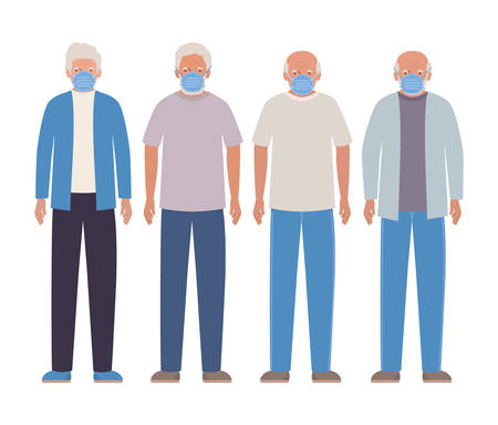 Elder men with masks against Covid 19 design of Medical care hygiene health emergency and patient theme Vector illustration