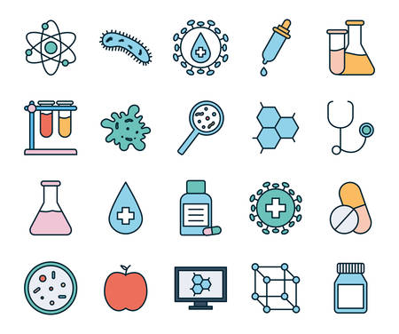 line and fill style icon set design, Science chemistry laboratory research technology biology equipment and test theme Vector illustration
