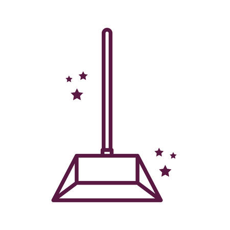 dustpan line style icon design, Cleaning service wash home hygiene equipment domestic interior housework and housekeeping theme Vector illustration