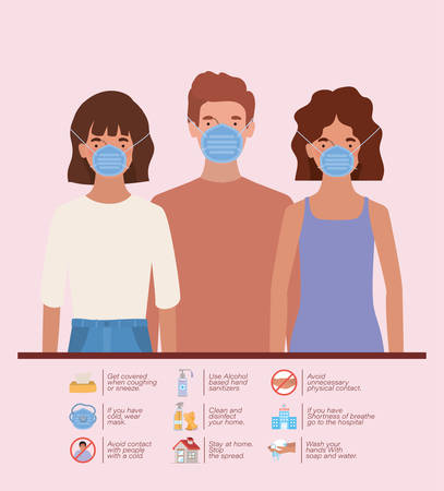 Women and man with masks of 2019 ncov virus prevention typs design of Covid 19 epidemic disease symptoms and medical theme Vector illustration