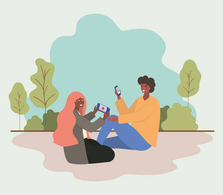Girl and boy with smartphones at park design, Youth culture people cool person human profile and user theme Vector illustration