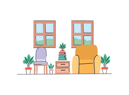 Living room design, Home decoration interior modern house decor living and apartment theme Vector illustration