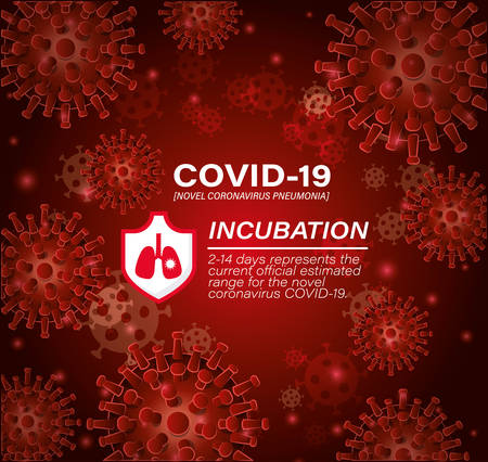 Covid 19 virus incubation design of 2019 ncov cov coronavirus infection corona epidemic disease symptoms and medical theme Vector illustration 向量圖像