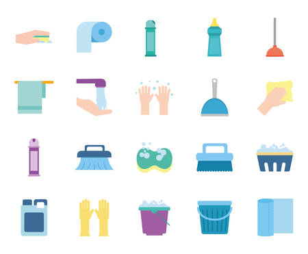 flat style icon set design, Cleaning service items wash home hygiene equipment domestic interior housework and housekeeping theme Vector illustration